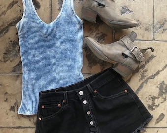 14276ce23acfd7 Vintage 1990's Contempo Casuals Acid Wash Blue Rib Knit Tank