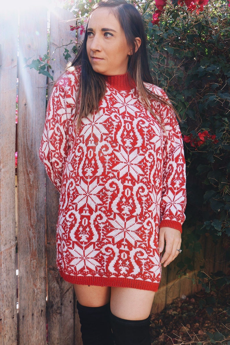 62de22ebb05b4 Vintage Ugly Holiday / Christmas Sweater Red   Etsy