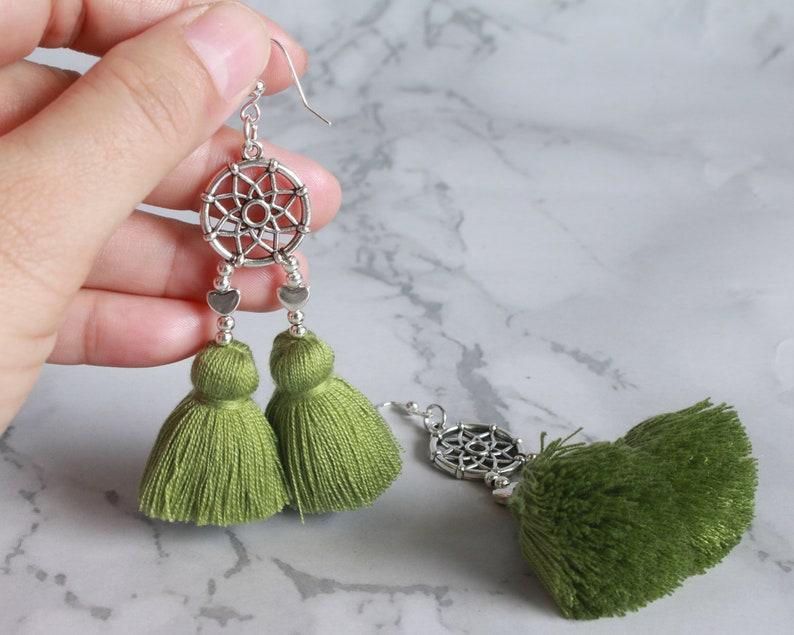 DCH Colorful Tassels Dangle Earrings Boho Jewelry Earrings for Women Girls Jewelry Gift Heart Charm Dream Catcher Drop Earrings