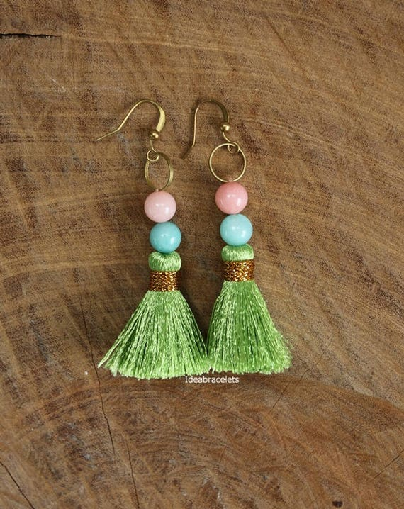 2a6c44c7e9f72 Boho Beads Tussel Dangle Earrings Boho Drop Earrings Cute
