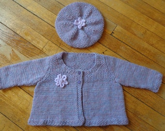 Hand Knit Baby Cardigan and Tam- size 12 months