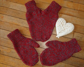 Lover's Mitten set- red and grey mix
