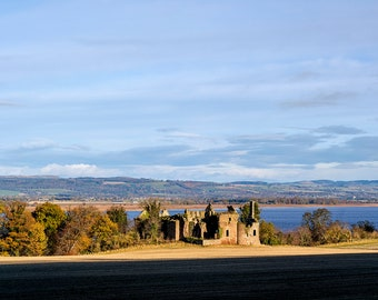 Ballinbreich Castle ruins looking north across the river Tay. Fine art photographic print showcasing Scottish Nature Photography