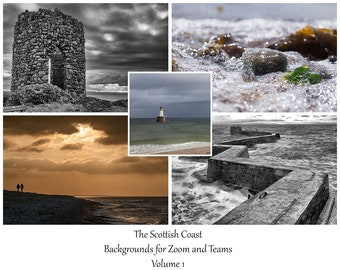 Coasts of Scotland Virtual Meeting Backgrounds Bundle Vol 1. 5 digital Background images for Zoom, Teams & others while working from home.