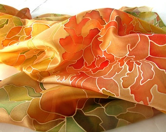 Hand painted silk scarf with red peony  Great grandma gift