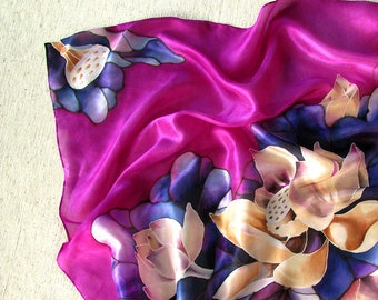 New mom gift Scarf with lotuses Scarf for mom Painted scarf Lilac silk scarf Purple silk scarf Cream lotuses Silk square scarf Gift women