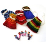 6 Guatemala Worry Dolls for crafts with pouch