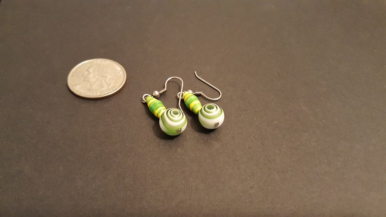 Paper Bead Earrings with glass bead. 125 image 0
