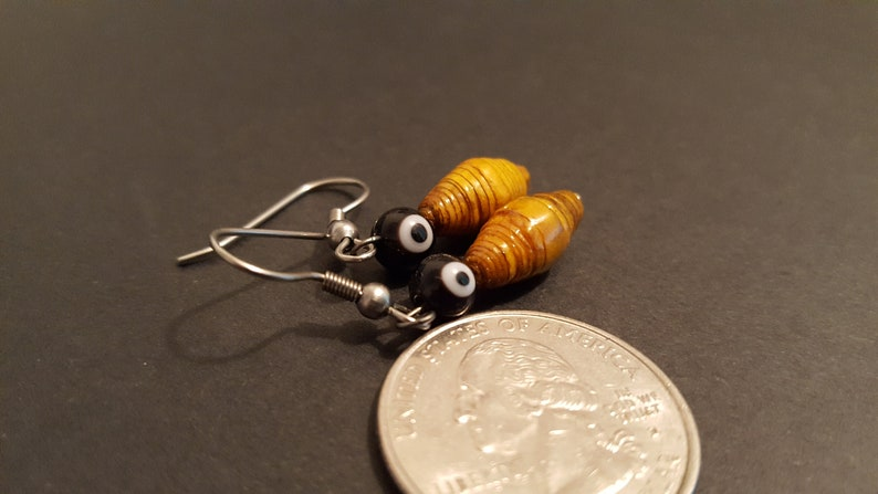 Paper Bead Earrings with glass bead. 133 image 0