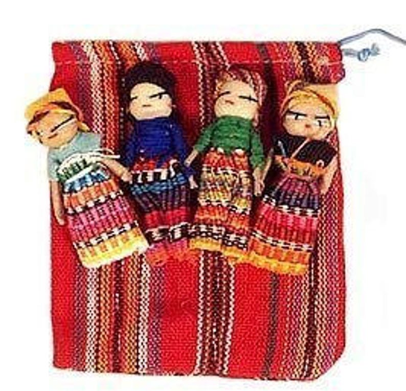 Guatemalan Worry Dolls 2 with bag for crafts image 0