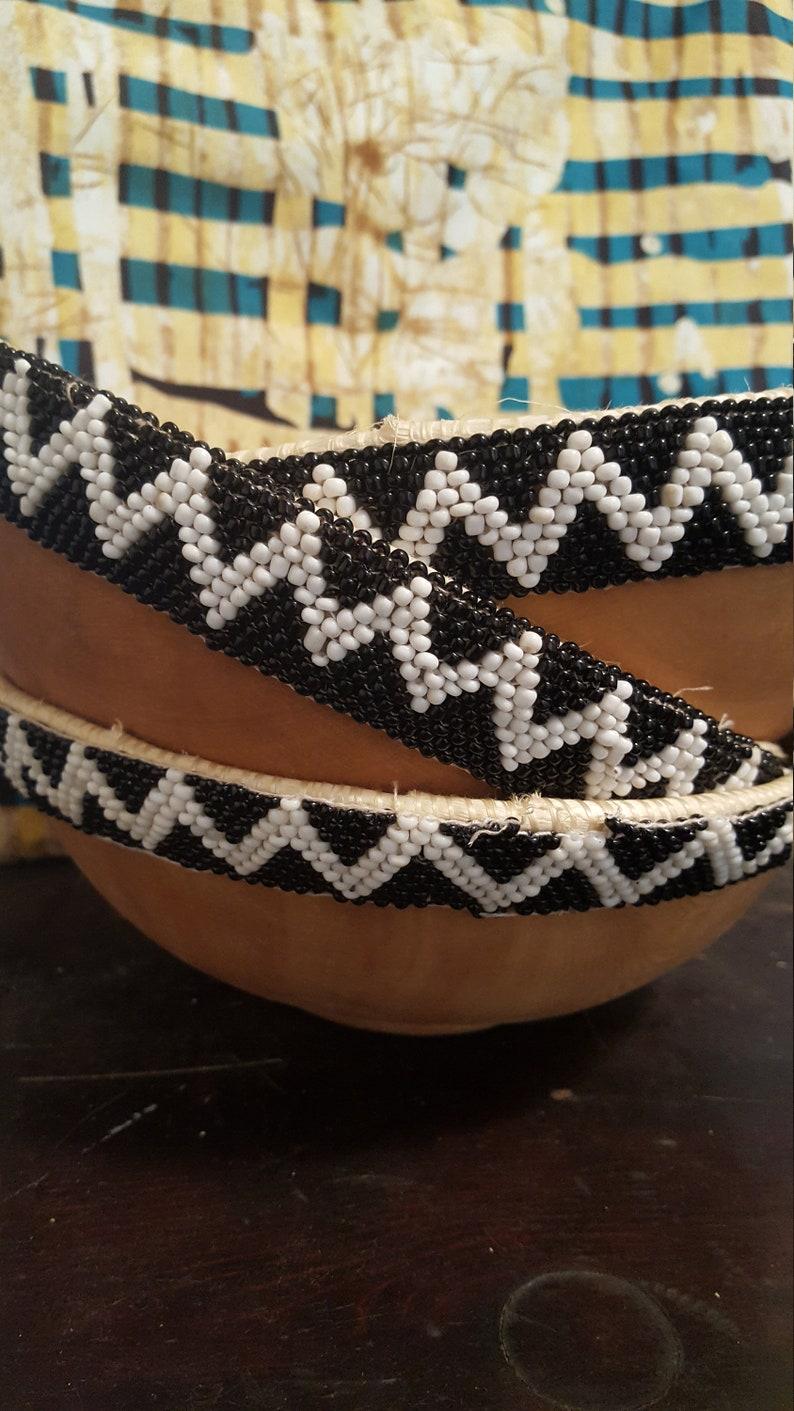 Rwanda Black & White Beaded Bowl image 0