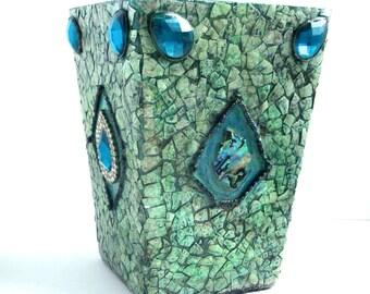 Mosaic Vase - Eggshell - Aqua - Blue - Mosaic Jewelry - Colored Glass Vases