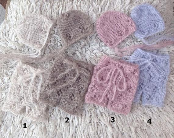 ccb8d72e582 Newborn knit set Lux Kid Mohair Newborn set Pants and hats