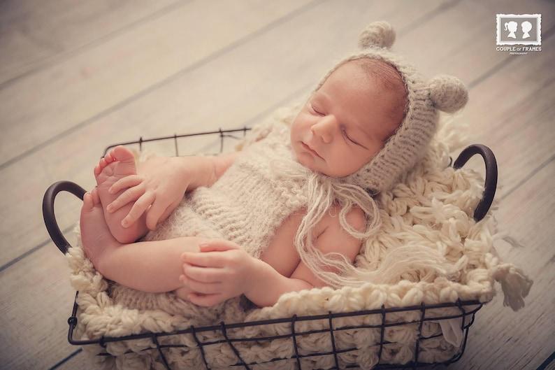 Newborn soft knit set Newborn bear set Photo prop Dungarees Bear hat Ready to ship Romper Overall set