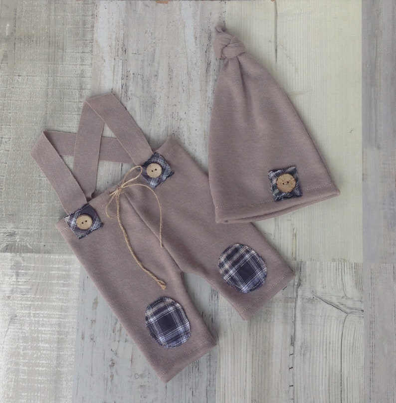 Newborn prop set Photo prop RTS Boy set Patches Baby set Button Elf hat Pants Photography baby set Overall and Sleepy hat Brown set