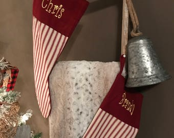 Monogram striped stocking