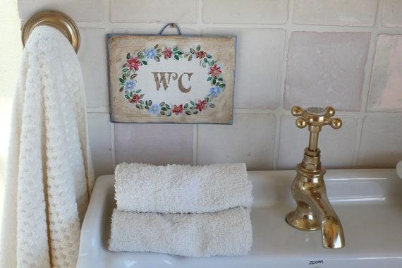 Bathroom Decor Sign Shabby Chic Handmade Hand Painted Etsy