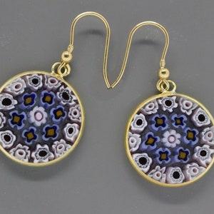 Authentic Murano Lampwork Glass Millefiori 23mm Pendant /& 14mm Earrings 24K Gold Plated Italian Sterling Silver BKWG-