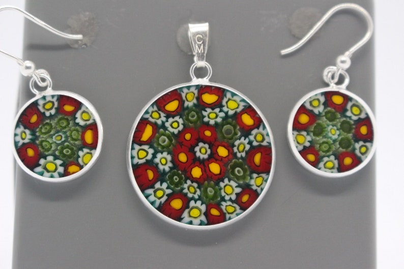 Authentic Murano Millefiori 23mm Pendant and 14mm Earrings 925 Stamped Italian Sterling Silver GRYb