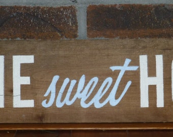 ON SALE !  Home sweet home reclaimed wood sign