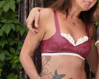 Latex SAMPLE SALE- Burgandy metallic red Bra top and knickers set white ruffles sexy bows uk size 8-10