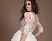 Tulle wedding gown with lace top, white with long sleeve