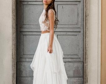 Silk and lace wedding separates, bridal separates, 2 piece wedding dress, destination wedding dress, beach wedding dress, elopement wedding