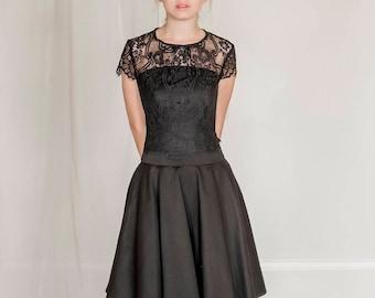 2 piece black evening outfit, black prom dress, black bridesmaid dress, black graduation dress