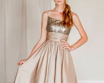 Gold sequin evening dress, sequin bridesmaid dress, sequin prom dress