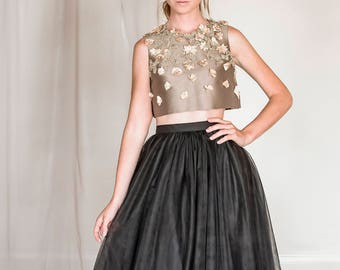 2 piece tulle and silk evening dress, black tulle skirt, bridesmaid skirt, black and gold prom dress