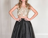3D lace and tulle evening separates, 2 piece evening dress, black tulle skirt, gold lace top, red carpet dress, black prom dress, prom skirt