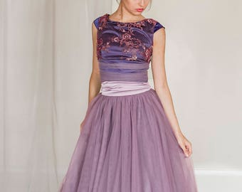 SAMPLE SALE 2 piece tulle evening dress, crop top and tulle skirt, prom tulle skirt, lavender tulle skirt