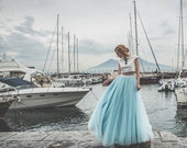 Sky blue floor length tulle skirt, 50s tulle skirt, tulle bridal skirt, long tulle prom skirt, tulle bridesmaid skirt, tulle wedding skirt