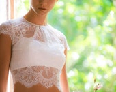 Chantilly lace bridal crop top, ivory lace bridal top, cap sleeve bridal top, button back bridal top, crop top bridal gown, wedding crop top