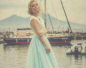 Tulle skirt for bridesmaid, long and in many colors: light blue, blush pink, black, ivory, white, burgundy, navy, beige