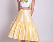 50s style high low skirt, full 50s skirt, hi lo skirt, yellow ruffle skirt, yellow bridesmaid skirt, prom skirt, asymmetrical skirt