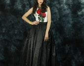 Black taffeta full skirt with train, long black skirt, black prom skirt, 2 piece prom dress, 2 piece red carpet dress, long bridesmaid skirt