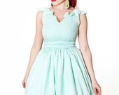 50s mint prom dress, V neck mint bridesmaid dress, mint green bridesmaid dress, cotton eyelet dress, sleeveless rehearsal dinner dress