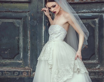 SAMPLE SALE Ivory strapless tulle wedding gown, tulle wedding dress, tulle bridal gown, lace wedding dress, princess wedding dress