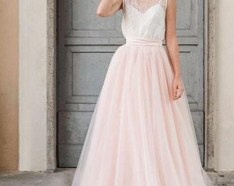 2 piece wedding dress, wedding separates, bridal separates, tulle wedding dress, blush wedding dress, tulle wedding skirt, blush tulle skirt