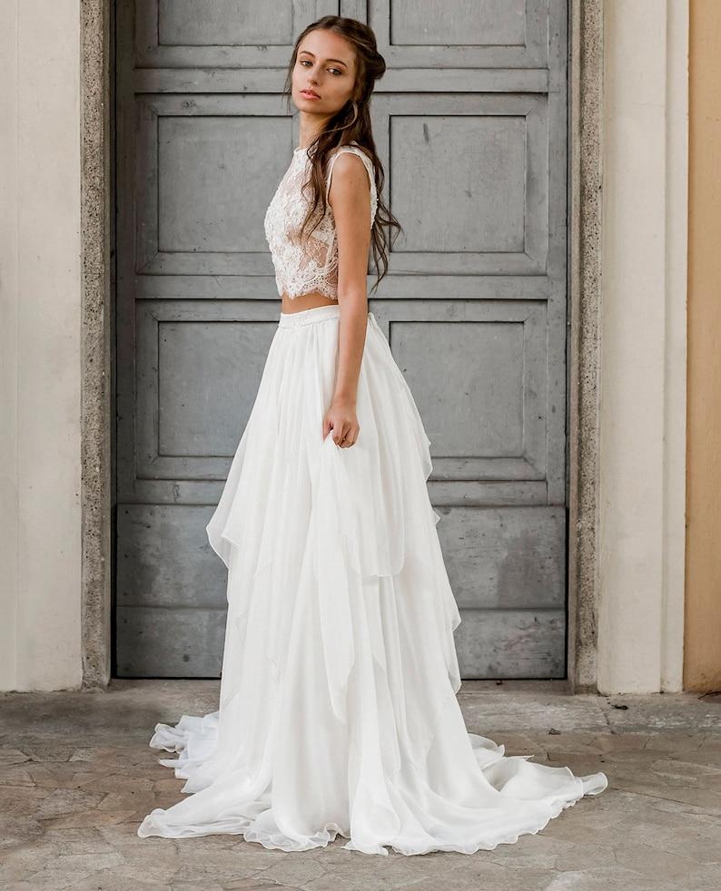 19297f385f Abito da sposa due pezzi, vestito sposa due pezzi, abito matrimonio  spiaggia, abito da sposa pizzo, abito da sposa seta, abito da sposa boho