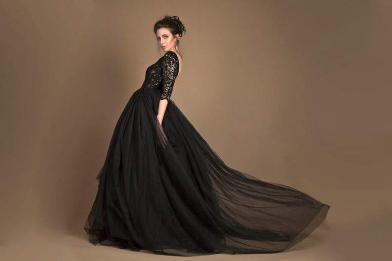 Black wedding gown in tulle sequined black wedding dress  73f1bd4d3