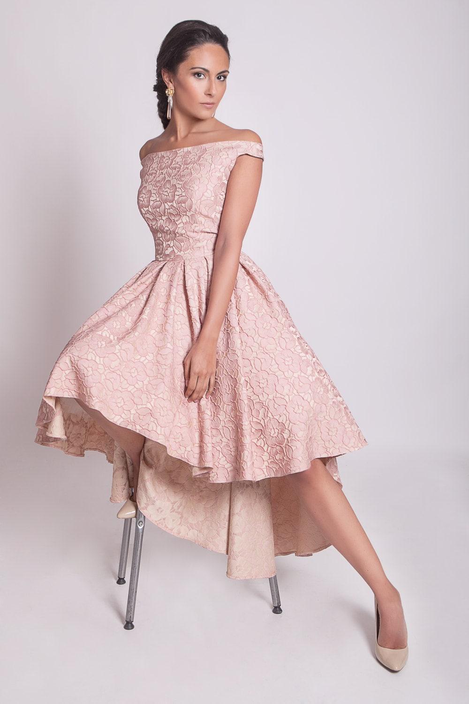 Alto bajo vestido vestido de Dama de honor de hombro de los