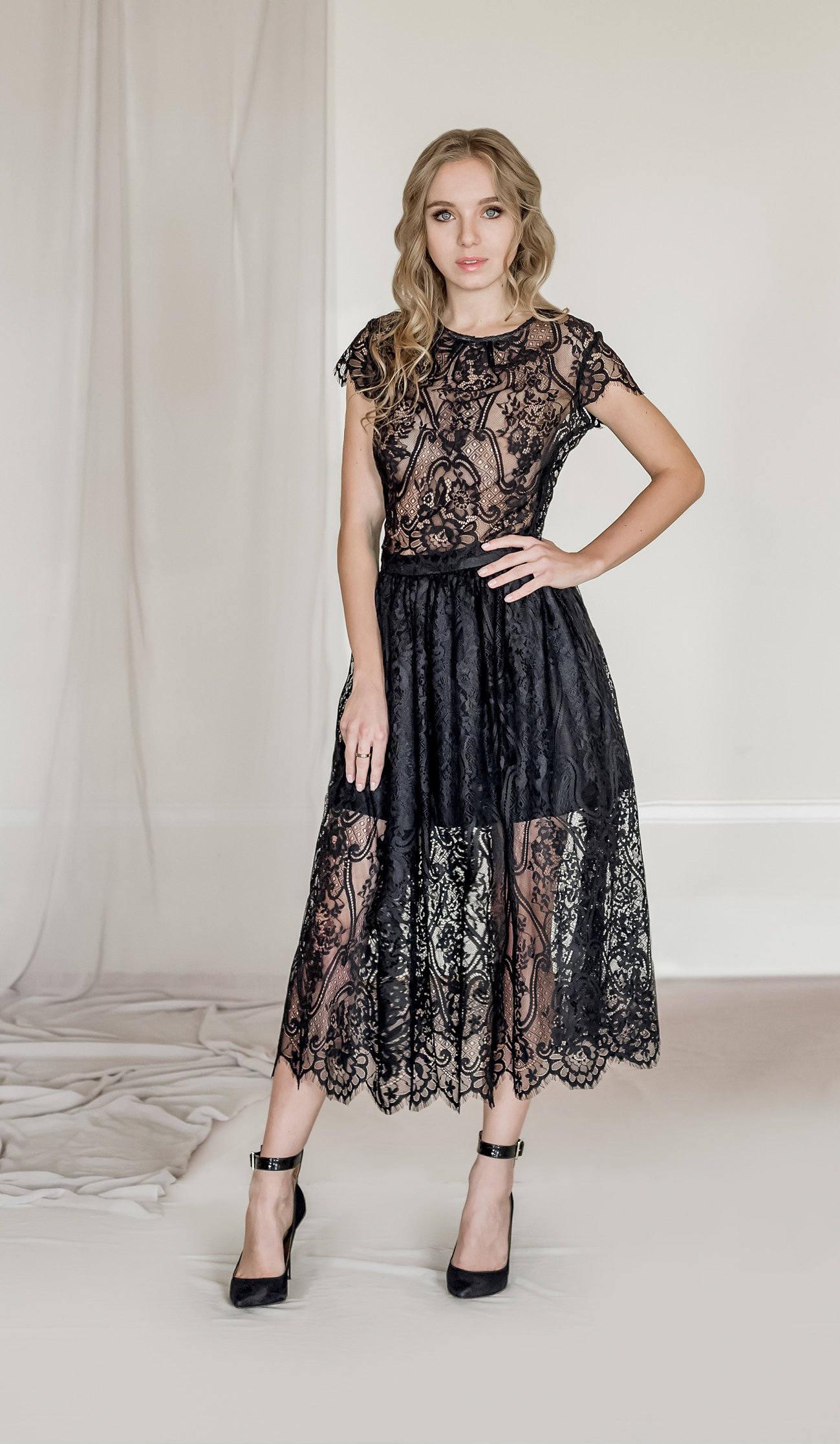 2 Stück Spitze-Abend-Outfit schwarze Spitzentop Rock aus