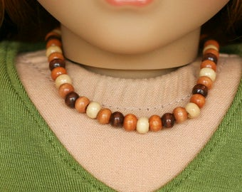 American Girl doll sized bead necklace - brown wooden beads