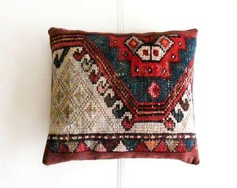 Antique Carpet Mini Cushion, Mini pouf , Sofa-cushion ,Bohemian living ,Tribal Throw Pillow, Handwoven rug, Home Decor, Handmade, (34x31cm)