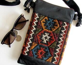 Fine Leather Shoulder Bag, Black Leather and Kilim Bag, Beauty Case, Zipped Purse