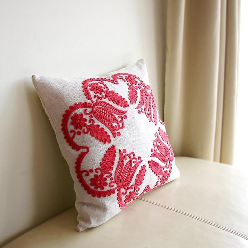 Hungarian Embroidered  Pillow Case 48x48cm Transylvanian Traditional \u00cdr\u00e1sos Folk Cushion Cover Folk Art Gift  19x19 Inch