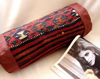 Antique Red Cushion, Kilim Sofa, Neck Roll, Bolster Pillow, Antique Kelim pillow, Roll Pillow, Cylindrical Vintage cushion, (41x14 cm)