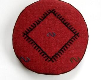 """Embroidered Round Kilim Meditation Pillow, Tribal Round Cushion, Kelim pillow, Mini Tomato  pouf, Tomato """"Lecso"""" cushion (34x6 cm)"""